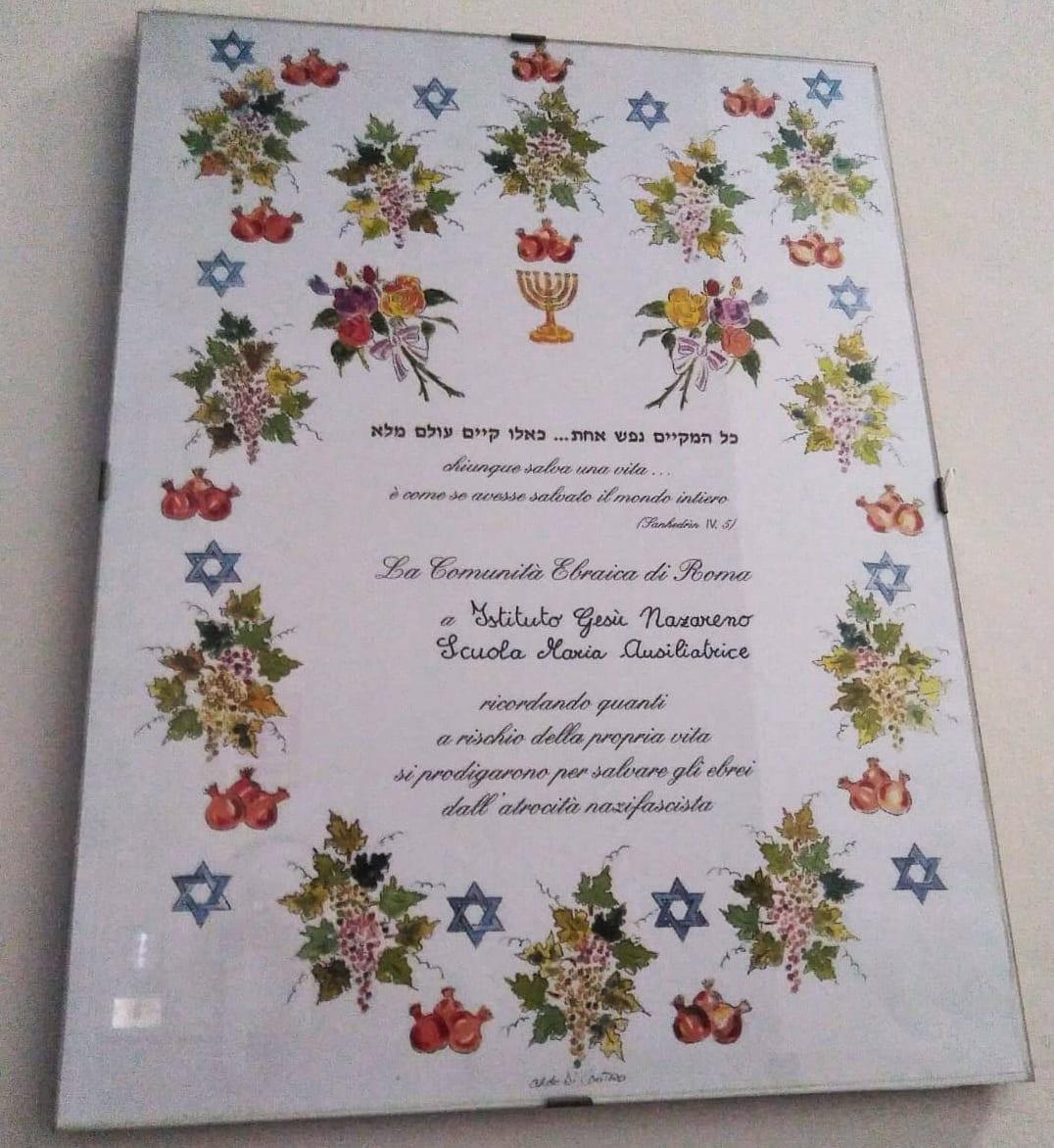Ringraziamento Comunità Ebraica a Casa FMA via Dalmazia Roma